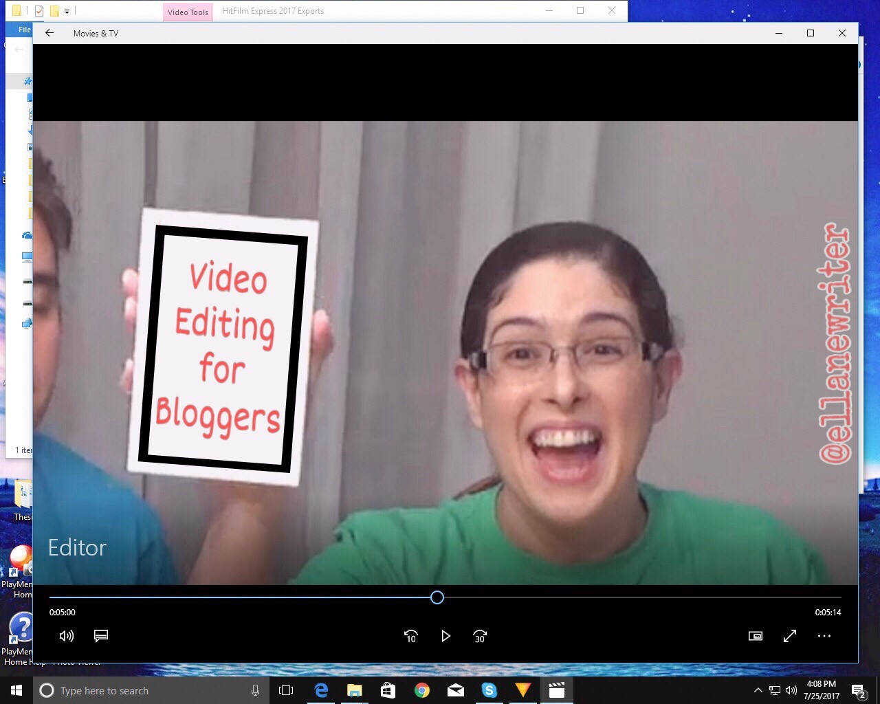 A window is open on a computer screen. The window shows an enthusiastic E. L. Lane holding a card that reads Video Editing for Bloggers.