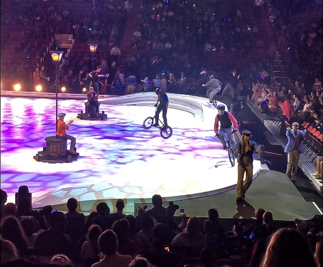 Bicycles on the ice at Disney On Ice presents Road Trip Adventures