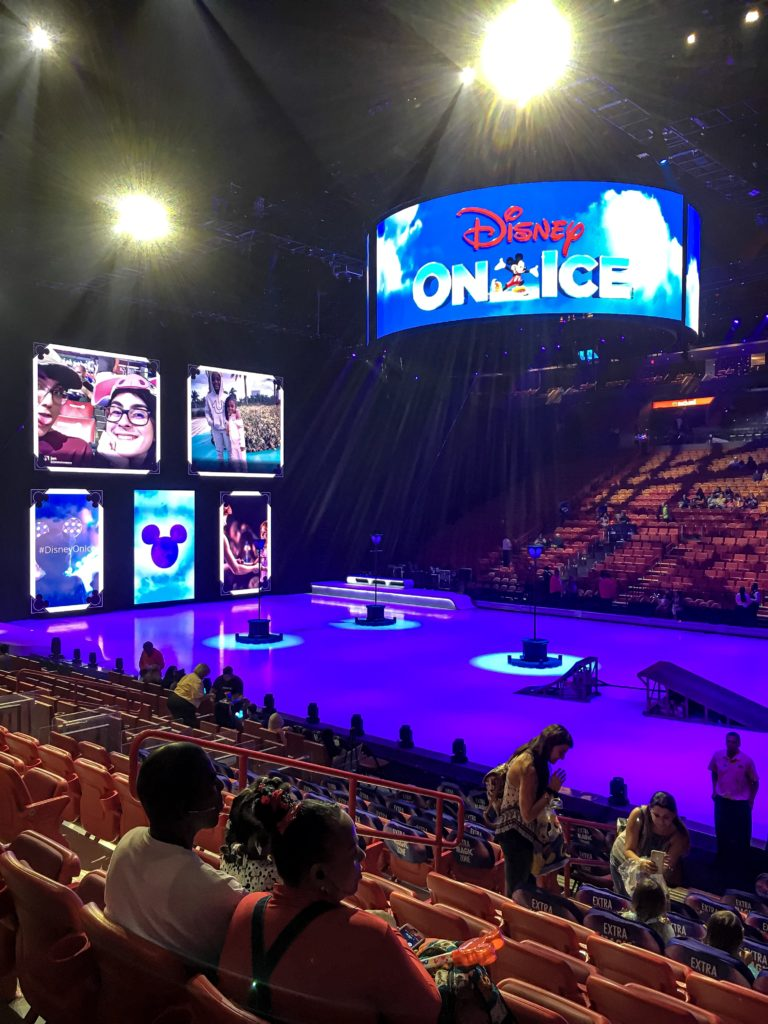 The ice rink set up for the show Disney On Ice presents Road Trip Adventures